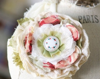 Flower Corsage Pin, Textile Brooch, Spring Accessory, Pink, Red and Green Fabric Flower Pin, Gift for Women, Gift for Mom, Friend Gift