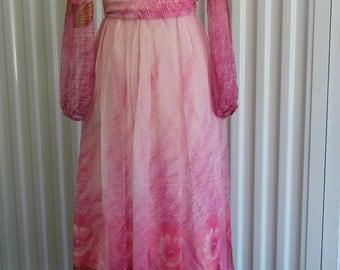 Pink 70s Maxi Floral Chiffon