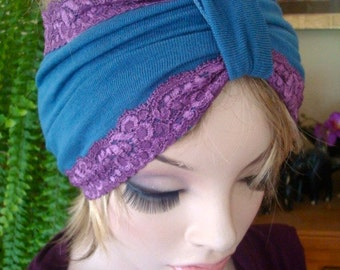 adult headband womens  headbands wool lace headwrap blue woollen turban turband