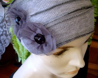 Womens chemo hat combo hat and wide headband Silver Grey  Headwrap Flapper Chemo Headwear