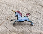 pastel unicorn brooch pin . retro unicorn tie tack . blue wooden unicorn jewelry