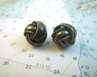 Sterling Silver Knot Ball Earrings Post Stud