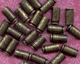 25 - 9mm Luger Etched Brass Bullet Shell Casings - antique finish - wallpaper pattern Bead Caps- crystals, stones, Wholesale - 25 - 9mm-BE