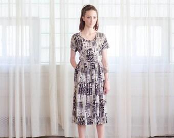 1950s Novelty Print Dress - Vintage 50s Rayon Dress - Balcony Seats Dress