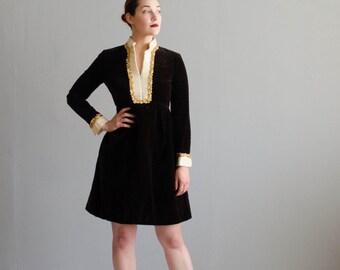 Vintage 1960s Mini Dress - 60s Velvet Dress - Teal Traina Dress