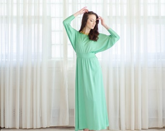 1970s Maxi Dress - Vintage 70s Long Dress - Seaglass Maxi Dress