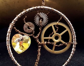 Brass steampunk tree of life wire wrapped pendant with heart