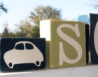 PERSONALIZED LETTER BLOCKS - Custom Name Baby Boy Nursery Shower Decor Car Auto Room - Distressed Shelf Transportation Sign