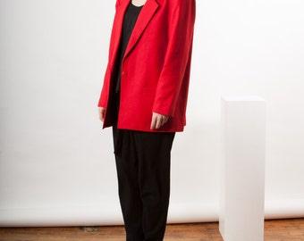 Red Boxy Blazer / Long Sleeve Boyfriend Jacket / Structured Wool Blazer