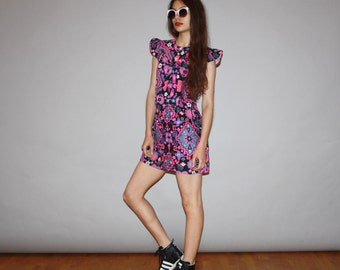 1960s Graphic Paisley Floral Psychedelic Neon Mod Mini Babydoll Dress   - Short 60s Dress - WD0750