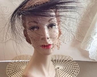 Vintage 1950s 1960s Hat Ringlet Velvet Horsehair & Veiling