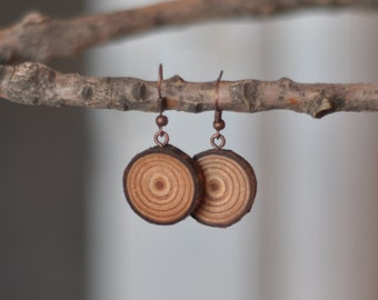 larch earrings • handmade wooden earrings