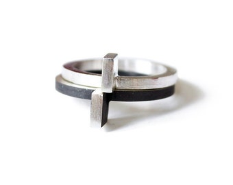 RING sterling silver black oxide contemporary jewelry abstract urban geometric architecture stacking stackable- Modular Collection