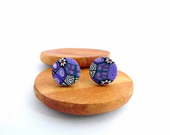 Large Purple Stud Earrings, Intricate Millefiori, Fimo Professional Polymer Clay & Stainless Steel, Hypo Allergenic, Supremily Jewellery