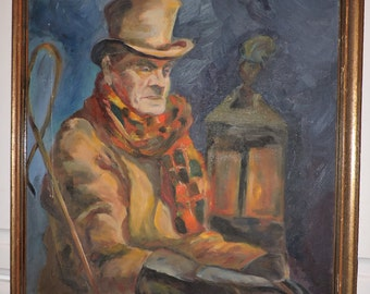 Vintage Oil Portrait Older English CARRIAGE Driver Coachman c. 1940s Framed by Giordano