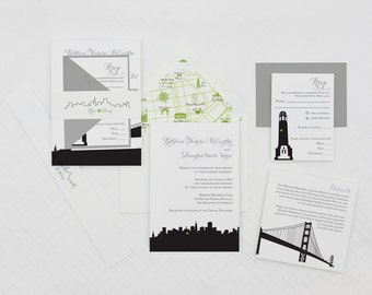 Modern San Francisco Wedding Invitation,SF Wedding Invitations,San Francisco Skyline Wedding Invites,Any City Skyline Wedding Invitations