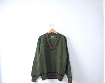 Vintage 80's dark green wool sweater, oversized sweater, size large