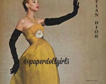 Vintage Fashion Magazine Advertisement L Officiel April 1956 Magazine Ad Christian Dior Evening Gown Paris Haute Couture Wall Art