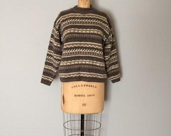 90s Eddie Bauer pullover sweater | wool ornament ski sweater