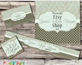 Etsy Shop Set - Premade Etsy Banner - Etsy Shop Banner - Etsy Cover - Etsy Shop Icon - Avatar - Elegant Damask 2