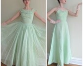 Vintage 1950s Evening Dress in Mint Organza / 50s Party Dress in Satin and Sheer Aquamarine / Extra SmallOrganza / Small