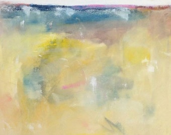 Yellow Abstract Landscape Painting- Summer Yellows 24 x 48