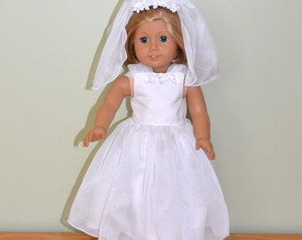 American Girl Doll Clothes -  American Girl Doll First Communion Dress and Veil, Doll First Communion Outfit
