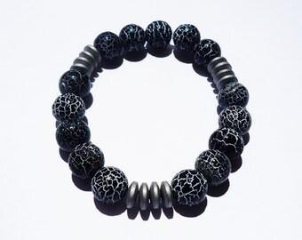 Black and White Snakeskin Men's Bracelet MB-01