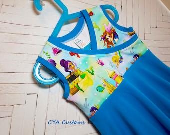 Mermaids girls dress size 6 S cross front twirly spring dress summer dress sun dress tank dress mermaid blue dress beach dress