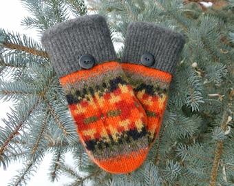 100% Wool Orange, Black, Gray & Red Fair Isle Recycled Sweater Mittens