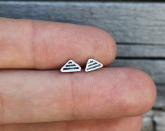 Little Sterling Silver Studs - Tiny Pyramids