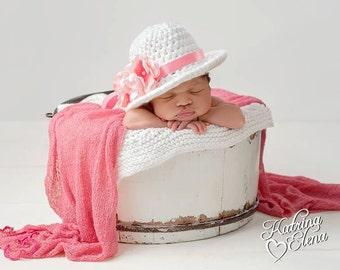 Newborn Easter Bonnet/ Baby Easter Hat/ Crochet Bonnet/ Newborn Photo Prop/ Baby Girl Hat/ Springtime Baby/ Easter Hat/Sun Bonnet