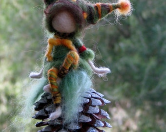 Needle felted mobile Waldorf inspired art doll gnome on conee