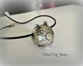 Silver Piggy Necklace - PMC Jewelry - Three Little Pig Necklace - Metal Clay Pig Necklace - Unique Silver Jewelry