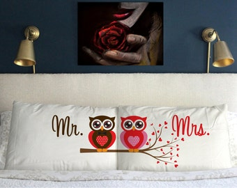Mr Mrs OWL  Pillow Case Christmas  Wedding Perfect Gift Couple