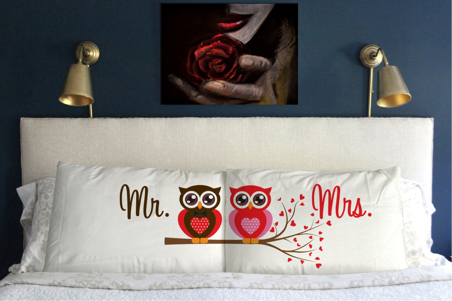 Perfect Wedding Gift For Best Friend: Mr Mrs OWL Pillow Case Wedding Perfect Gift Couple M9