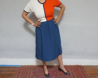 70 centennial era red white blue cream ringer color block cotton 1970s vintage tea length a line shirt dress navy large L short sleeve nice