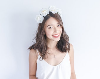 ivory rose crown headband / simple asymmetrical classic flower crown, christmas party festive season, summer, spring, everyday floral