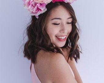 pink wedding flower crown fascinator // spring racing, races statement floral headpiece headband, races melbourne cup, flowers