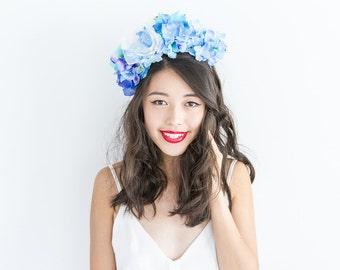 blue and white statement flower crown headband // Sigrid / floral headpiece beach costal island wedding bridal summer bright wildflower