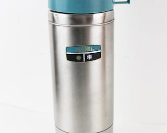 Vintage 1980s Thermos King Seeley Blue and Chrome QT Metal Thermos with handle stopper and cup lid 2464S  C2