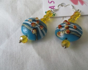 White, blue and brow with tan lampwork bead pierced earrings