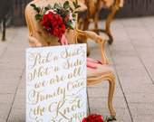 "Wedding Sign ""Pick a Seat, Not a Side"" Aisle Sign for Ceremony Painted Sign Wedding Aisle Decorations, Gold & More Colors (Item - PPS600)"