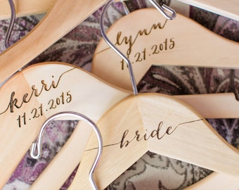 Personalized Hangers for Bridesmaids Bridal Party Hangers for Wedding Day Accessories for Bridal Party Wooden Dress Hanger (Item - HNP300)