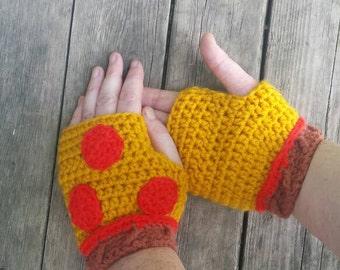 Crochet Pizza Gloves - Fingerless Mitts - Fingerless Gloves - Crochet Food - Cosplay Gloves - Pizza Accessories