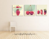 food photography print set, red kitchen prints, red kitchen decor, fruit wall art, nursery prints, strawberry, cherry, peppers, cafe art