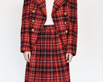 Red Plaid 2 piece suit- Blazer + skirt
