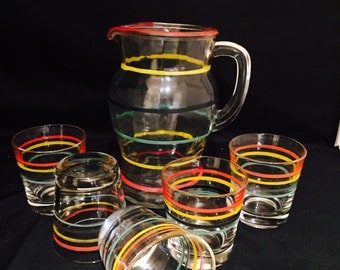 Striped Glass Pitcher And 5 Matching Glasses Drinkware Stripes In Primary Colors Retro Kitchen