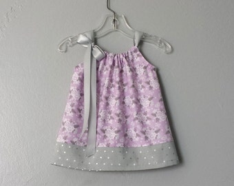 New! Baby Girls Lavender & Grey Sun Dress - Lavender Dress and Bloomer Outfit with Flowers and Dots - Size Newborn, 3m, 6m, 9m, 12m or 18m