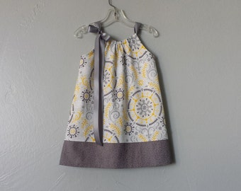 Little Girls Grey and Yellow Pillowcase Dress - Girls Yellow and Grey Sun Dress - Size 12m, 18m, 2T, 3T, 4T, 5, 6, 8, or 10